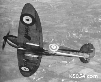 Spitfire prototype K5054 in flight showing off her eliptical wings and standard RAF wartime camouflage